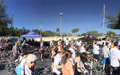 Large group of bicyclists outdoors