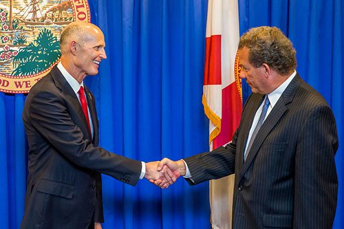 Governor Rick Scott, and George L. Sigalos at the Governor's office at State Capitol.