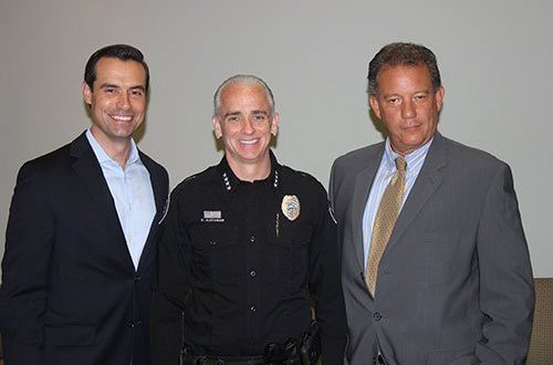 Andy Thomson. Esq., Police Chief Dan Alexander, and George Sigalos, Esq.